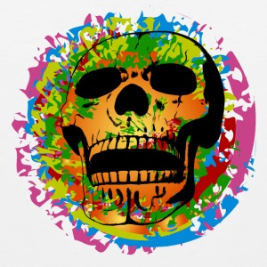 Skull on a colorful painted plotch Sports wear - Men's Premium Tank Top