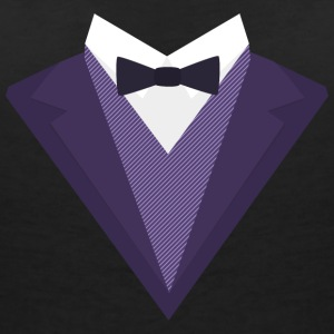 Purple Tuxedo with white bow tie S67ze T-Shirts - Women's V-Neck T-Shirt