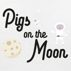 Pigs on the Moon Sky06 T-Shirts - Women's V-Neck T-Shirt