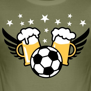 FUSSBALL Party Bier Beer Alkohol Fußball T-Shirt - Männer Slim Fit T-Shirt