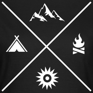 Mountains | Camping | Campfire | Sunshine | Cross Camisetas - Camiseta mujer