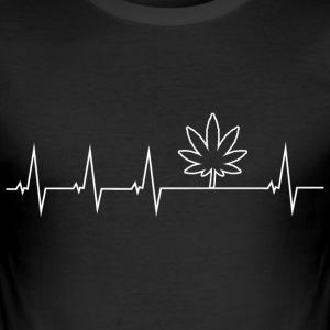 I love Cannabis - Heartbeat T-Shirts - Men's Slim Fit T-Shirt