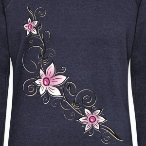 Blumenranke mit pink farbenen Blüten Hoodies & Sweatshirts - Women's Boat Neck Long Sleeve Top
