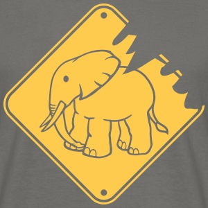 Tear warning sign yellow danger elephant small cut T-Shirts - Men's T-Shirt