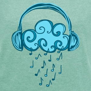 Headphones, Cloud, Music Notes, Rain, Clef, Party T-shirts - Vrouwen T-shirt met opgerolde mouwen