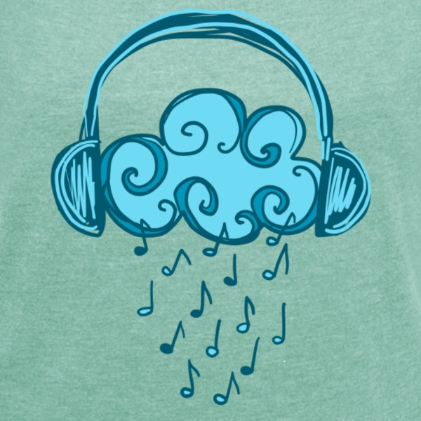 Headphones, Cloud, Music Notes, Rain, Clef, Party T-shirts - T-shirt med upprullade ärmar dam