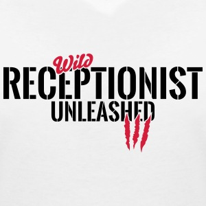 Wild receptionist unleashed T-Shirts - Women's V-Neck T-Shirt