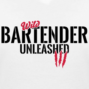 Wild bartender unleashed T-Shirts - Women's V-Neck T-Shirt