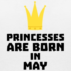 Princesses are born in MAY Sc18v T-Shirts - Women's V-Neck T-Shirt