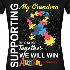 Supporting Grandma We Will Win Autism Awareness T-Shirts - Women's Premium T-Shirt