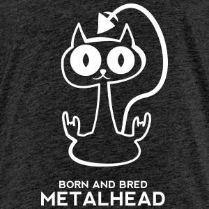 Heavy metal cat for dark backgrounds T-Shirts - Kinder Premium T-Shirt