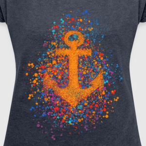 Anchor, splash, splatter, dots, sailing, sail,  T-Shirts - Women's T-shirt with rolled up sleeves