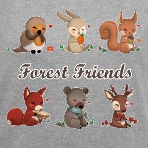 forest friends T-Shirts - Frauen T-Shirt mit gerollten Ärmeln