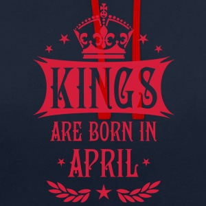 Kings are born in April Sterne Krone King Hoodie - Kontrast-Hoodie