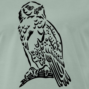 Beautiful Snowy Owl in Tattoo Style. - Men's Premium T-Shirt