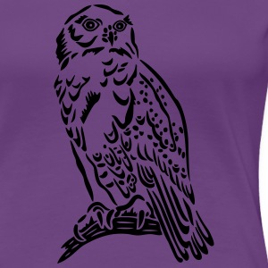 Beautiful Snowy Owl in Tattoo Style. - Women's Premium T-Shirt