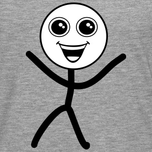 Happy smiley, stick figure Langærmede t-shirts - Herre premium T-shirt med lange ærmer