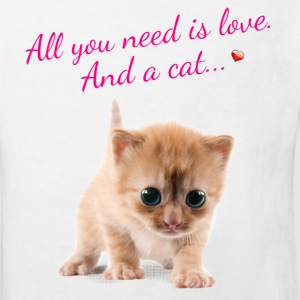 Süße Katze, Katzensprüche-All u need is love. And T-Shirts - Kinder Bio-T-Shirt