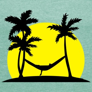 Hammock in Paradise T-Shirts - Women's T-shirt with rolled up sleeves