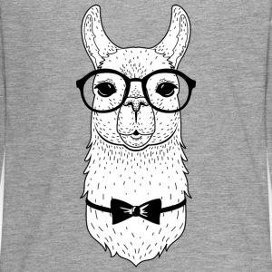 Hipster Llama | Bow Tie & Glasses Manches longues - T-shirt manches longues Premium Ado
