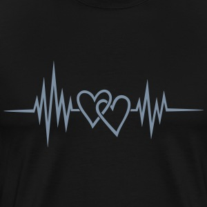 Heartbeat, heart rate, pulse, double heart T-Shirts - Men's Premium T-Shirt
