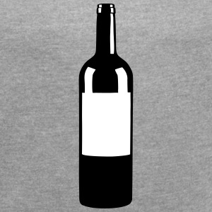 Wine Bottle T-Shirts - Women's T-shirt with rolled up sleeves