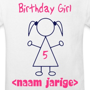 Wit birthday girl 5 year Kinder shirts - Kinderen Bio-T-shirt