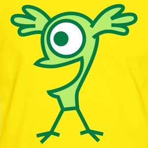 Yellow/green Strange and Happy Cartoon  Birdie- Vector graphic by Cheerful Madness!!  Men's T-Shirts - Men's Ringer Shirt