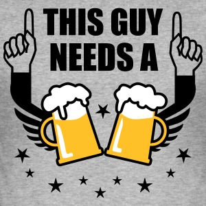 This Guy needs a Beer 2 Mass Bier Prost Spruch T-S - Männer Slim Fit T-Shirt