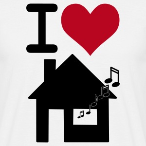 Vit I love housemusic T-shirts - T-shirt herr