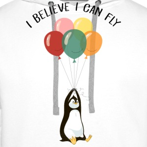 I Believe I Can Fly | Funny Penguin With Balloons Gensere - Premium hettegenser for menn