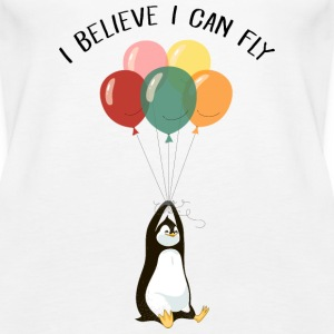 I Believe I Can Fly | Funny Penguin With Balloons Topy - Tank top damski Premium