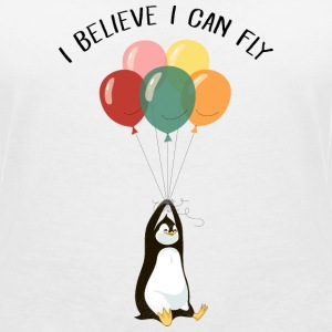 I Believe I Can Fly | Funny Penguin With Balloons T-Shirts - Frauen T-Shirt mit V-Ausschnitt
