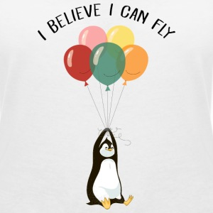 I Believe I Can Fly | Funny Penguin With Balloons T-shirts - T-shirt med v-ringning dam