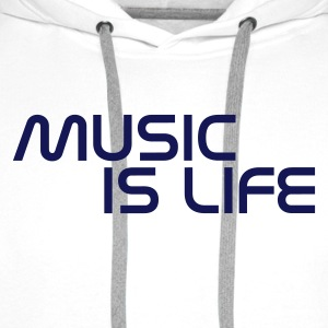 Bianco music is life without heart IT Pullover - Felpa con cappuccio premium da uomo