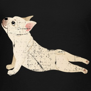 French Bulldog | Yoga Pose | Funny Illustration Shirts - Teenage Premium T-Shirt