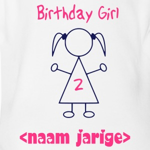 Wit Birthday Girl 2 Jaar Baby body - Baby bio-rompertje met korte mouwen