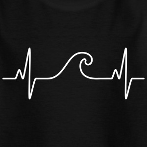 Surf  The Wave | Funny Heartbeat Design Skjorter - T-skjorte for barn
