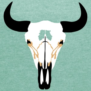 Buffalo Head, Bison T-Shirts - Women's T-shirt with rolled up sleeves