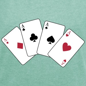 Card Game, Poker, Ace T-Shirts - Women's T-shirt with rolled up sleeves