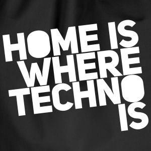 Home is where techno is Club DJ Berlin Bags & Backpacks - Drawstring Bag