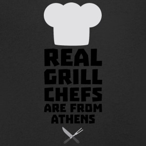 Real Grill Chefs are from Athens S3y8t T-Shirts - Men's V-Neck T-Shirt