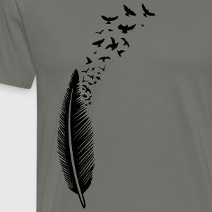 Feather med fugle T-shirts - Herre premium T-shirt