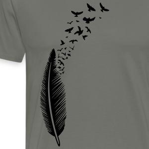 Feder und Vögel, feather with birds T-Shirts - Männer Premium T-Shirt