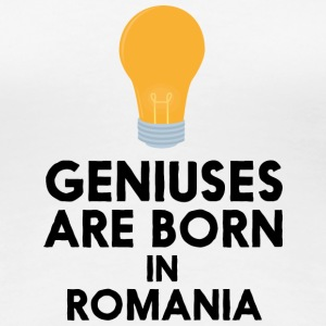 Geniuses are born in ROMANIA S1tpq T-Shirts - Women's Premium T-Shirt