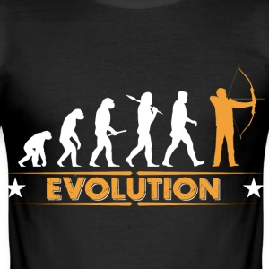 Bogenschiessen Evolution - orange/weiss T-Shirts - Männer Slim Fit T-Shirt