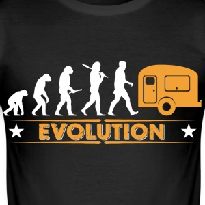 Camping Evolution - orange/weiss T-Shirts - Men's Slim Fit T-Shirt