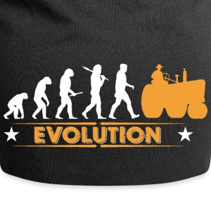Farmer tractor evolution - orange/white Caps & Hats - Jersey Beanie