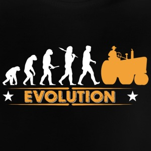 Landmand traktor evolution - orange/hvid Baby T-shirts - Baby T-shirt