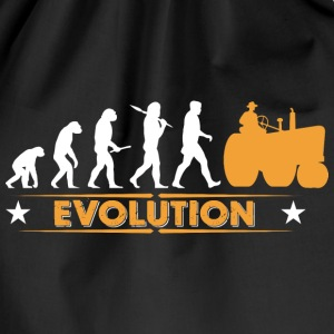 Farmer tractor evolution - orange/white Bags & Backpacks - Drawstring Bag
